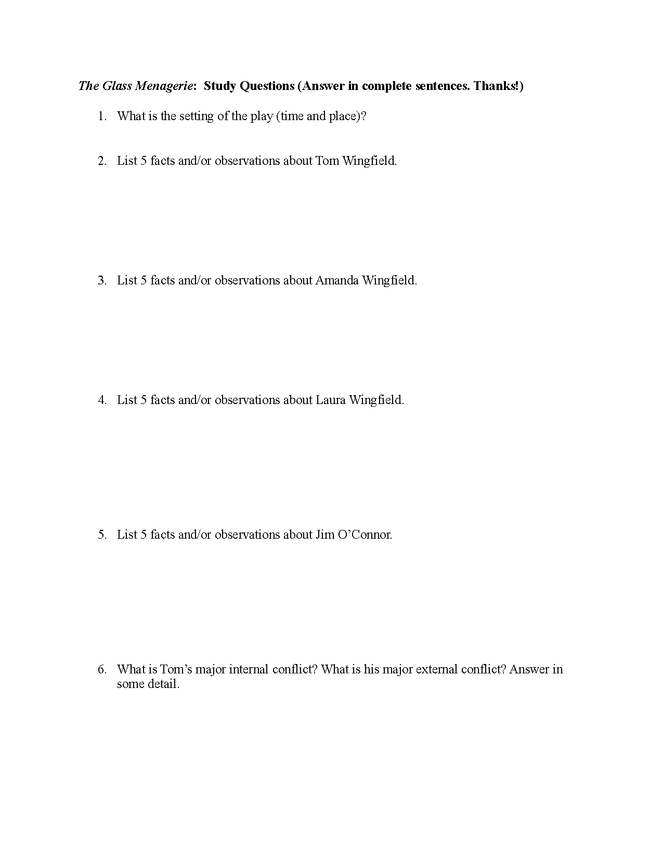 the glass menagerie: study questions preview image 1