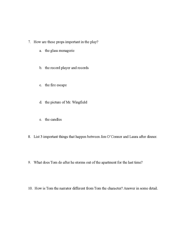 the glass menagerie: study questions preview image 2