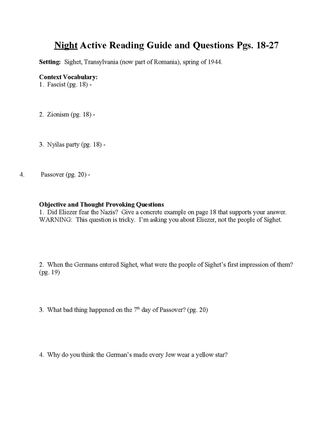 """""""night"""" study questions pgs. 18-27 preview image 1"""