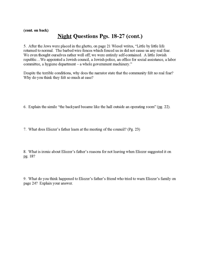 """""""night"""" study questions pgs. 18-27 preview image 2"""
