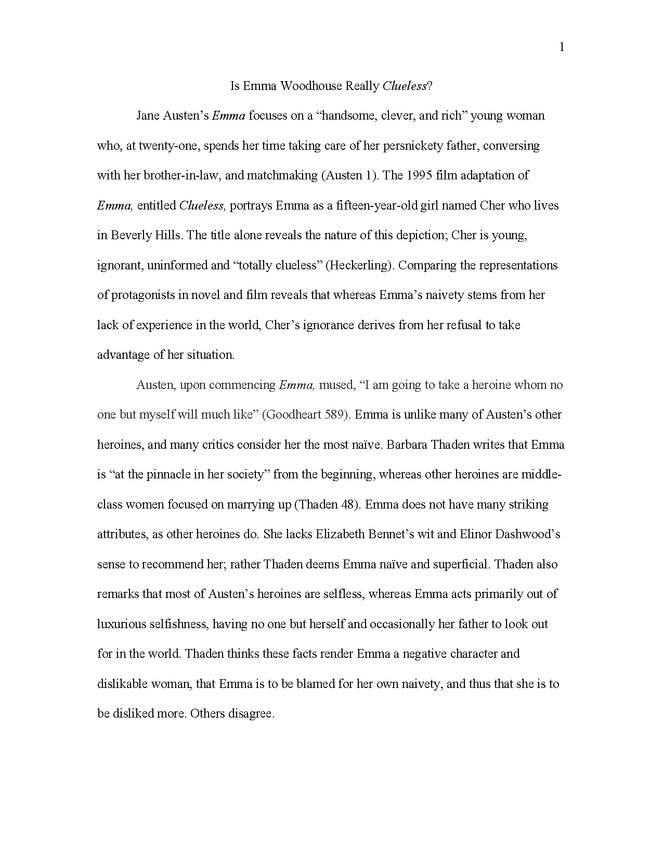 emma and clueless comparison in critical essay preview image 1