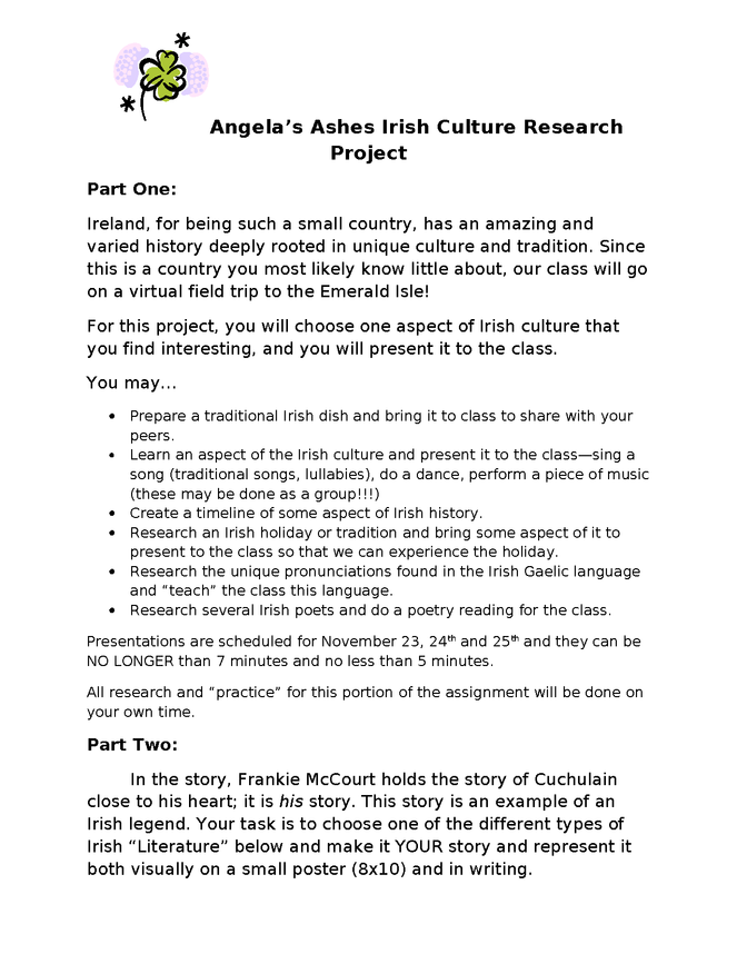 angela's ashes: irish culture project preview image 1