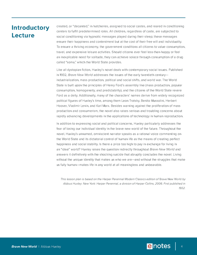 brave new world enotes lesson plan preview image 4