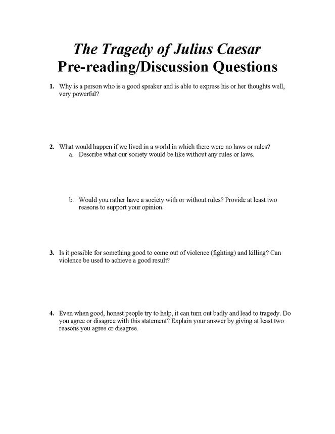 julius caesar pre-reading questions preview image 1