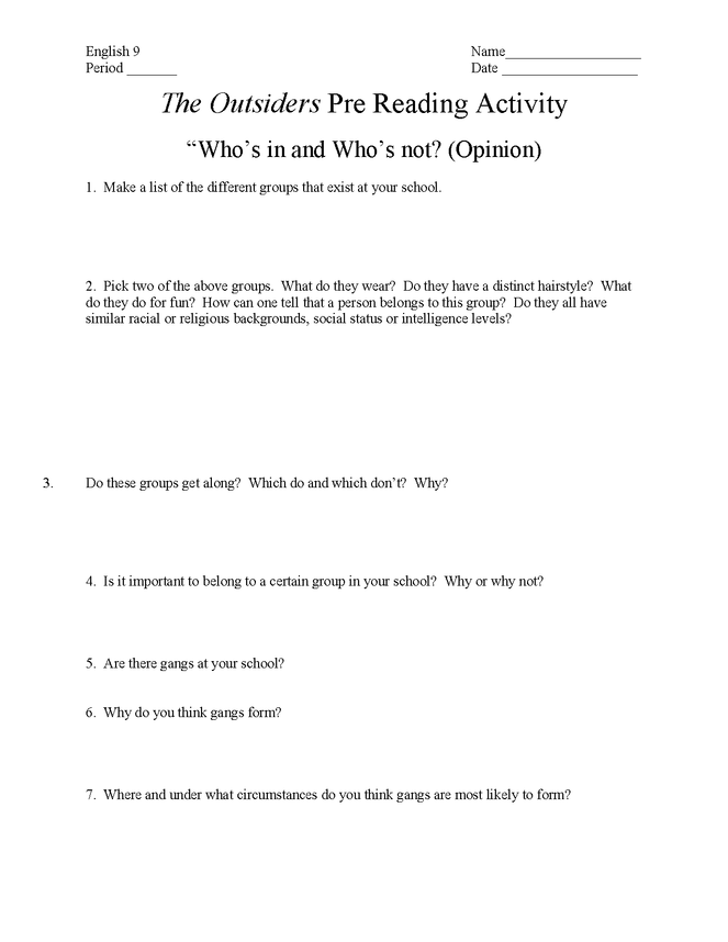 """""""the outsiders pre-reading activity preview image 1"""