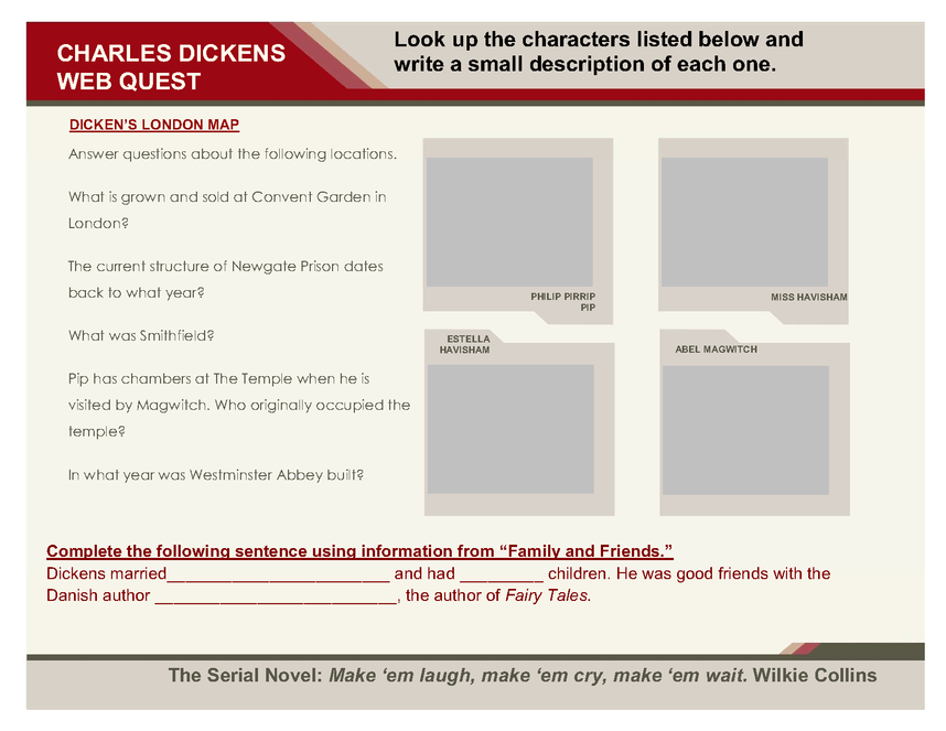 charles dickens webquest preview image 2