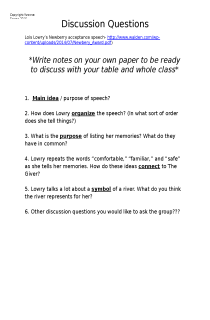 the book cover of Lowry Speech Discussion Questions