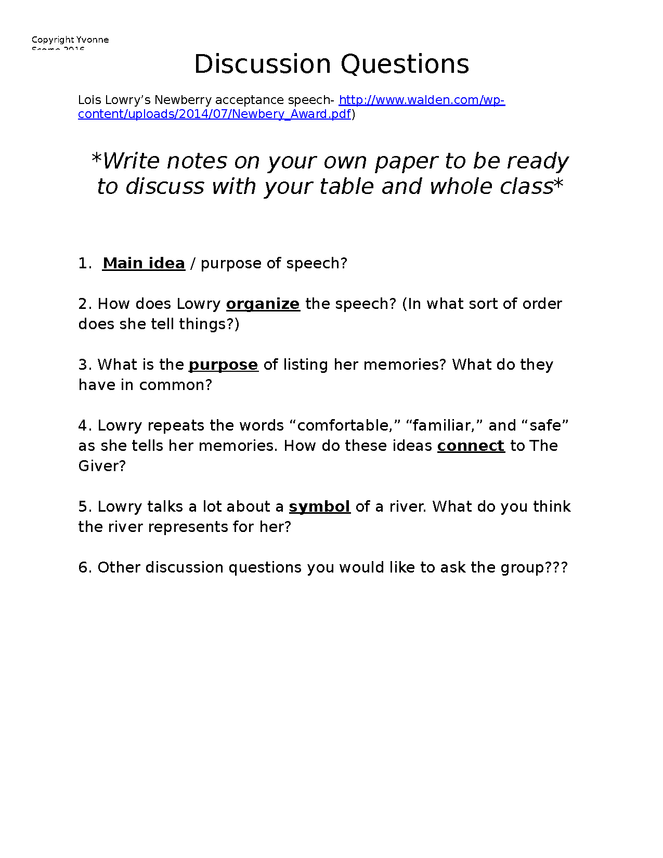 lowry speech discussion questions preview image 1