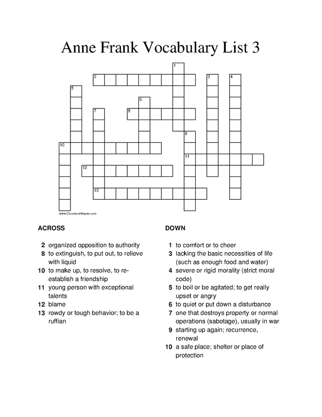 anne frank (play) vocabulary crossoword puzzle 3 preview image 1