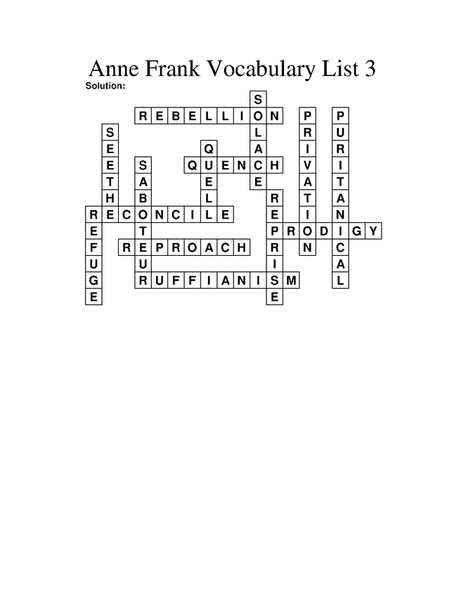 anne frank (play) vocabulary crossoword puzzle 3 preview image 2