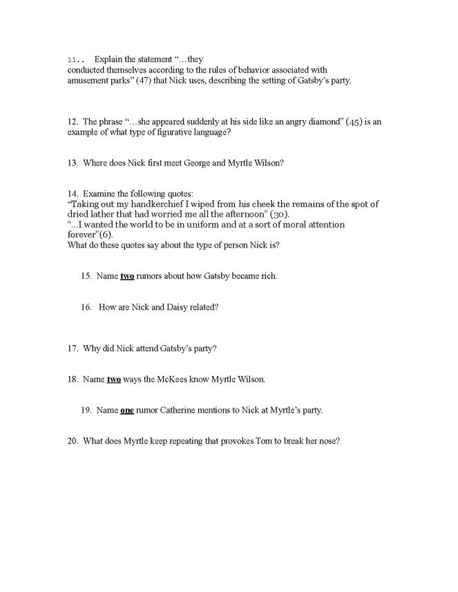 the great gatsby quiz ch. 1-3 (b) preview image 2