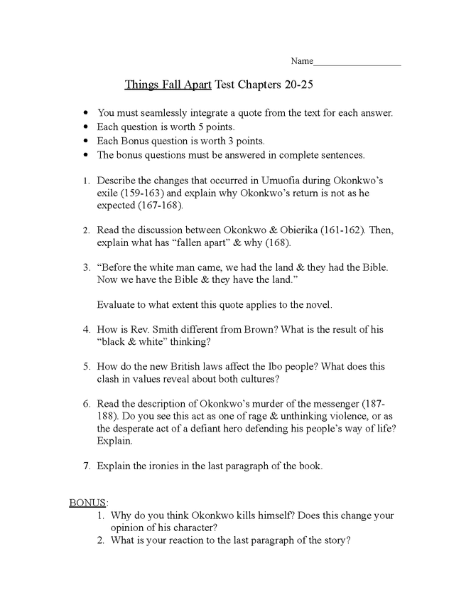things fall apart: open book test, chapters 20-25 preview image 1