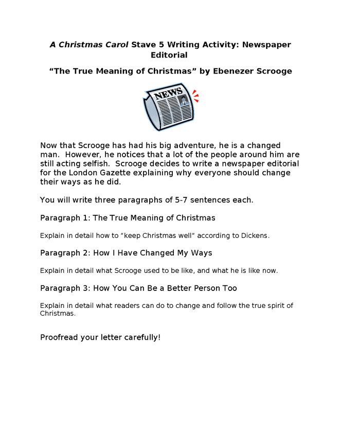 a christmas carol stave 5 writing activity the true meaning of christmas preview image 1