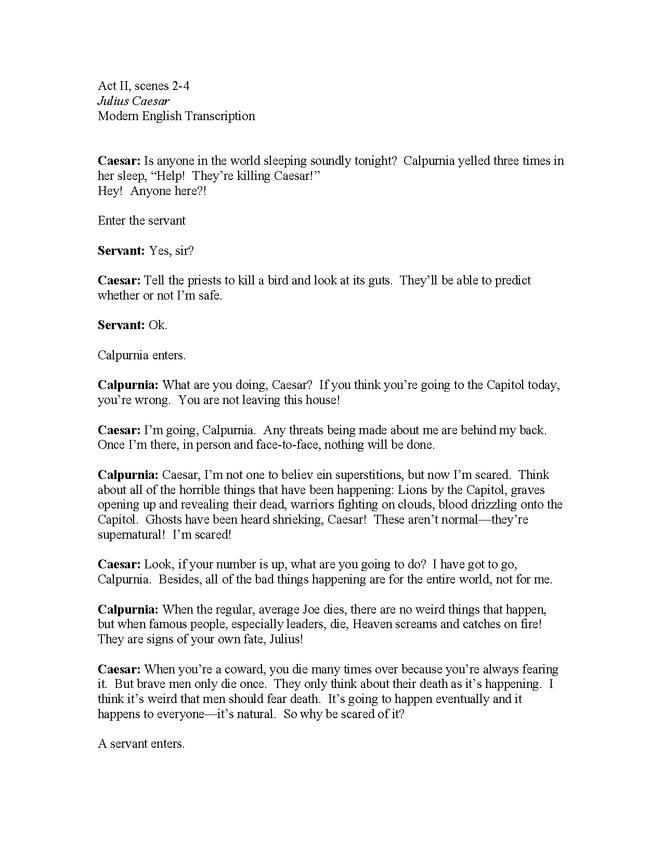 modern english translation of julius caesar, act ii, scenes 2-4 preview image 1