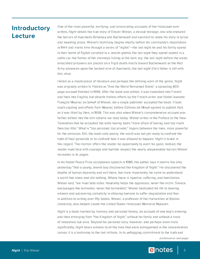 night enotes lesson plan preview image 3