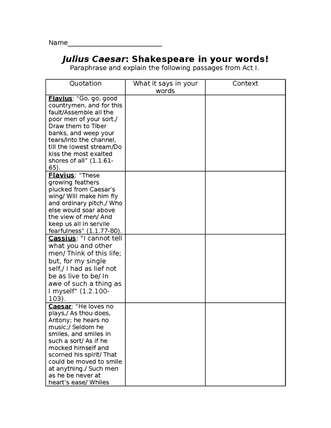paraphrasing exercise for act 1 of julius caesar preview image 1