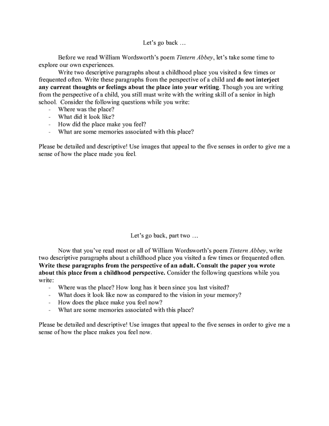 tintern abbey personal writing preview image 1