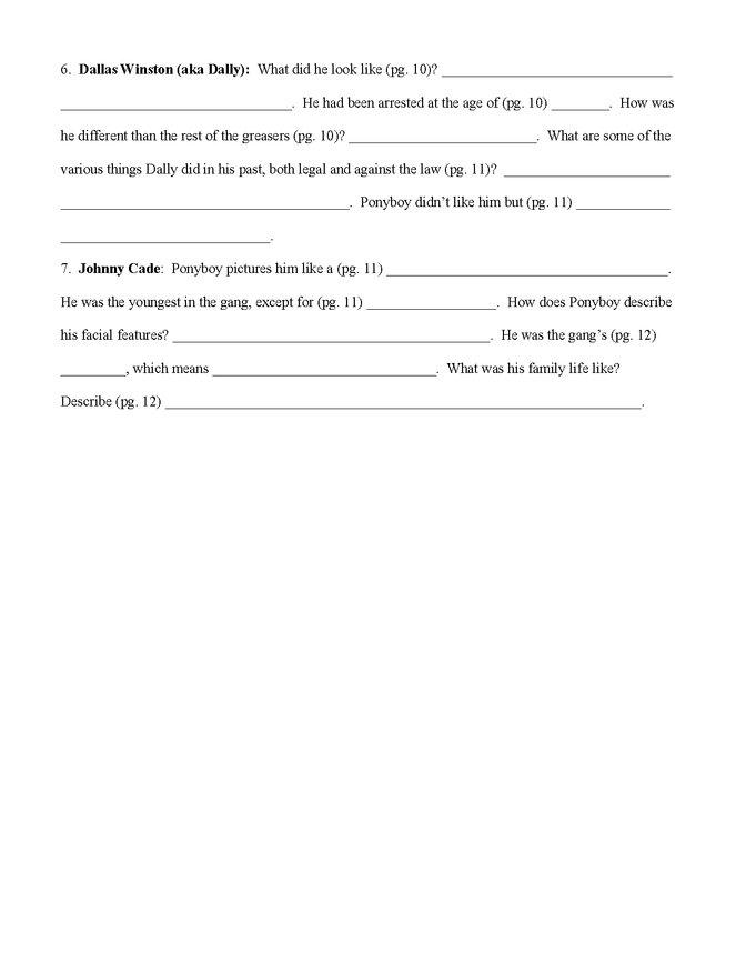 """""""the outsiders"""" characterization worksheet preview image 2"""