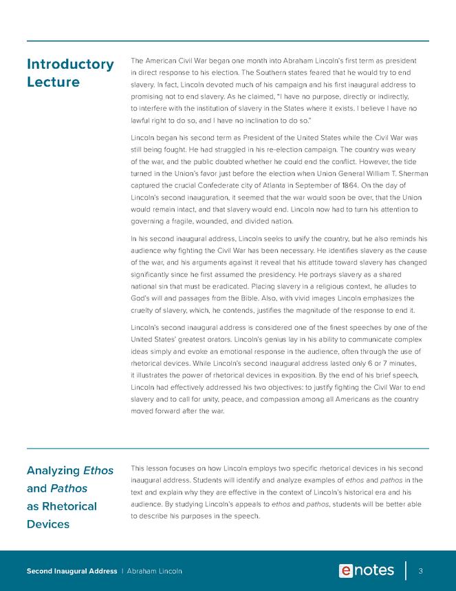 Second Inaugural Address Rhetorical Devices Lesson Plan