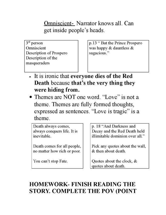 "teacher guide for ""the masque of the red death"" preview image 3"