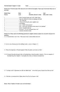 Cover image of Kite Runner, Chapters 1-3 Quiz