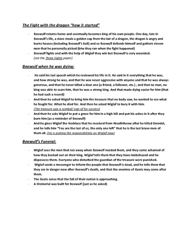 summary of beowulf - elements of epic preview image 3