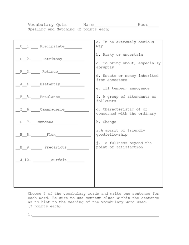 winter dreams vocab and spelling quiz key preview image 1