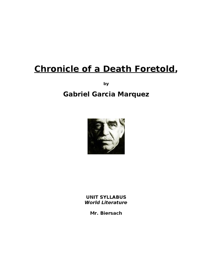 syllabus: garcia marquez, chronicle of a death foretold preview image 1