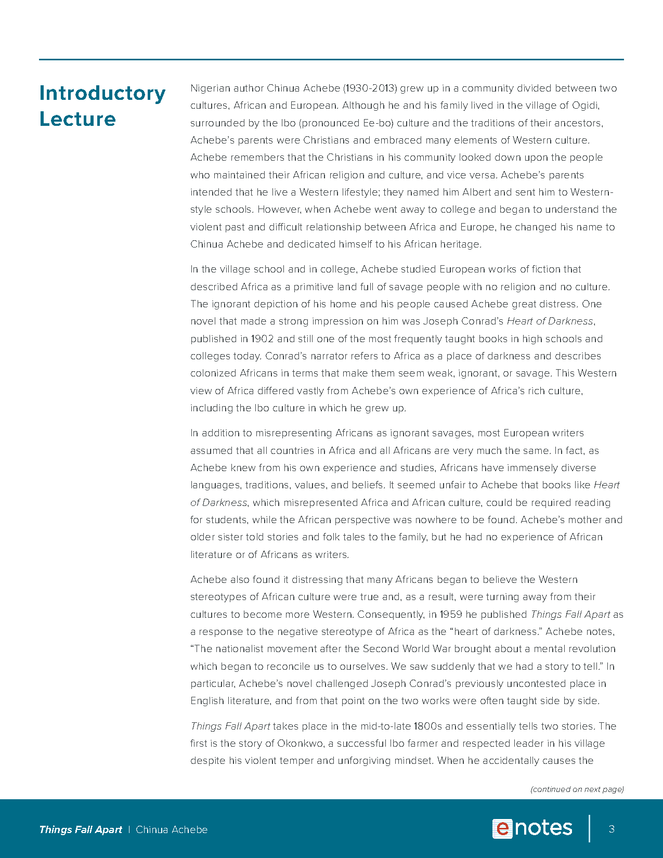 things fall apart enotes lesson plan preview image 3