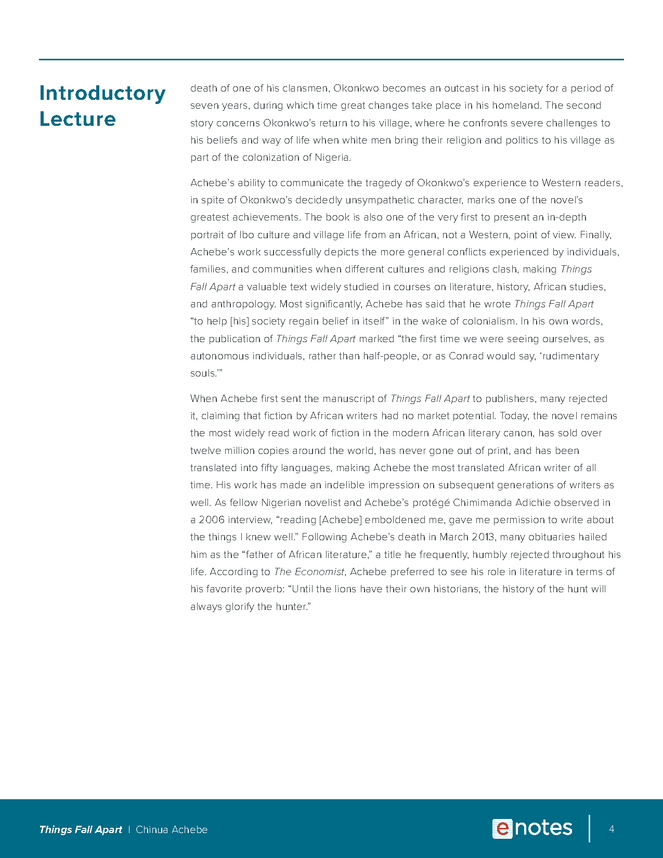 things fall apart enotes lesson plan preview image 4