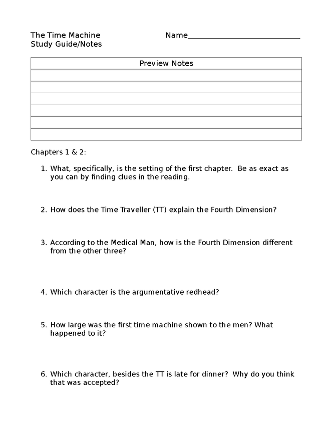 time machine study guide/review sheets preview image 1