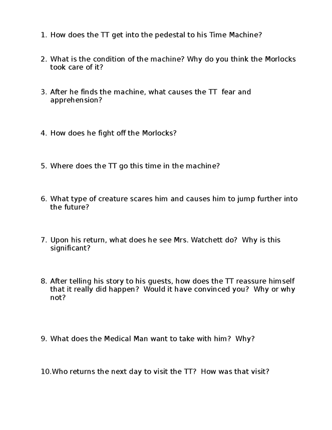 time machine study guide/review sheets preview image 6